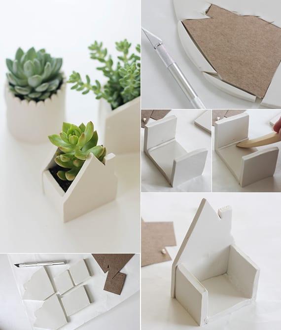 basteln mit ton_coole deko ideen mit selbstgemachten Blumenkübeln und coole fensterdeko ideen