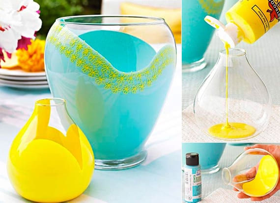 ideen zum frühling basteln_diy glasvase gelb und blau