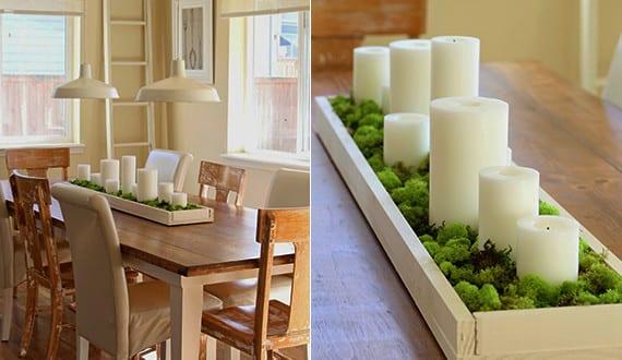 fr hlingsdeko basteln als kreative tischdeko mit kerzen und moss freshouse. Black Bedroom Furniture Sets. Home Design Ideas