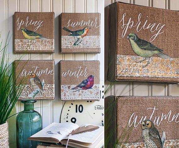 DIY Wanddeko mit leinwand und vögeln zum basteln für den frühling