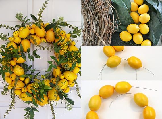 türkranz basteln aus zitronen als coole dekoidee frühling mit Zitronen-Türkranz