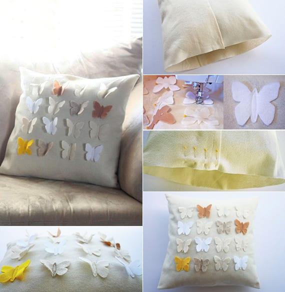 Kissenbezug mit Schmetterlingen aus Filz nähen und Kissen als Frühlingsdeko basteln