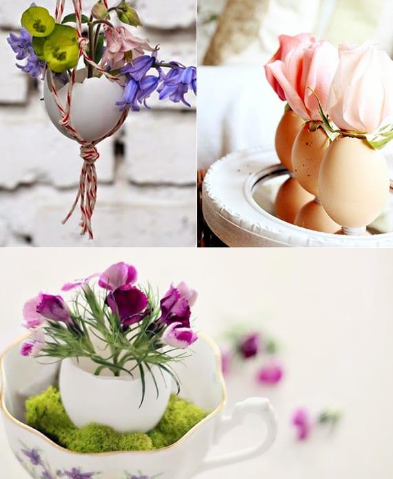 dekoideen frühling mit eierschalen als hängevasen und tischdeko