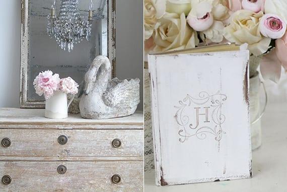vintage sideboard weiß dekorieren mit vintage spiegel und frühlingsblumen_Vintage Hochzeit dekoideen