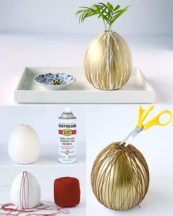 vase selbst gestalten mit goldfarbe_coole dekoideen mit blumen im glas