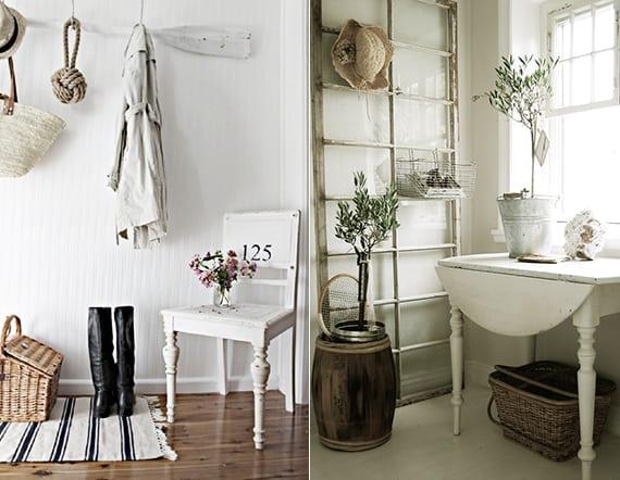 kreative wandgestaltung im vintage style und coole raumgestaltung mit vintage stühlen und holzklapptischene