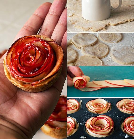 kleine valentinstag rosenapfel-kuchen für romantisches frühstück