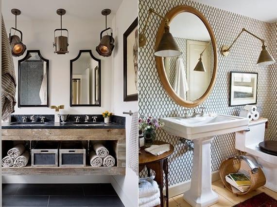 modernes badezimmer design im vintage stil_moderne badezimmer leuchten als vintage decken- und wandlampen