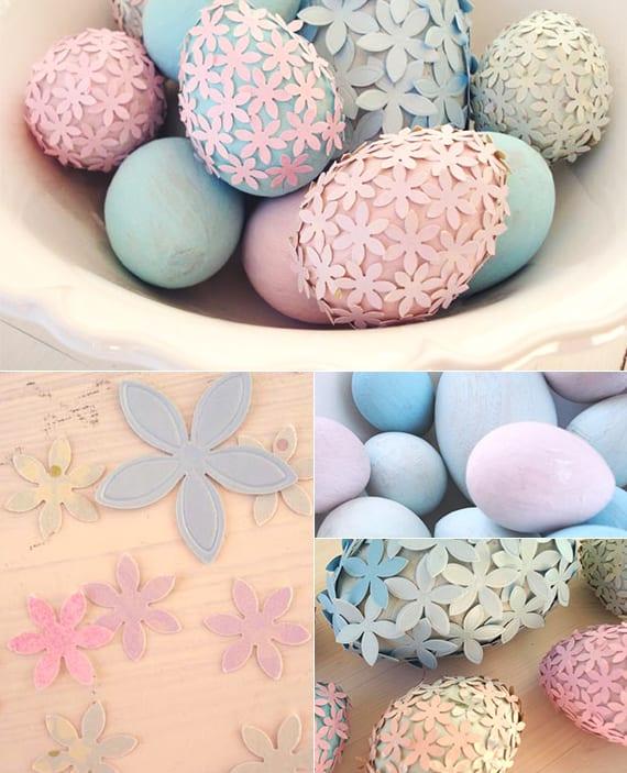 ostereier aus holz basteln, in blau und hellrosa malen und mit papierblumen dekorieren_tolle osterdeko basteln mit Ostereiern