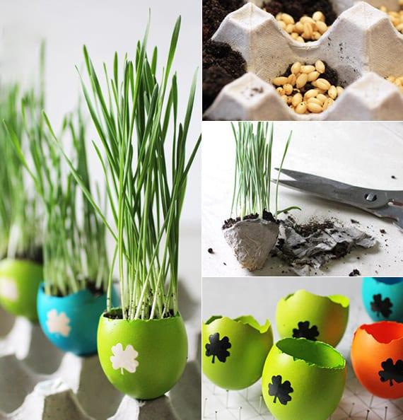 ausgefallene bastelideen ostern mit eierschalen als Blumenkübel