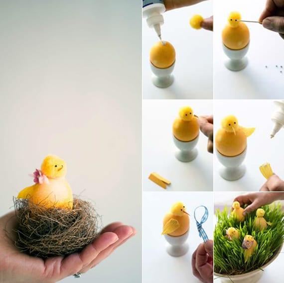 ostereier dekorieren als gelbe fögel im osternest_kreative bastelideen für ostern