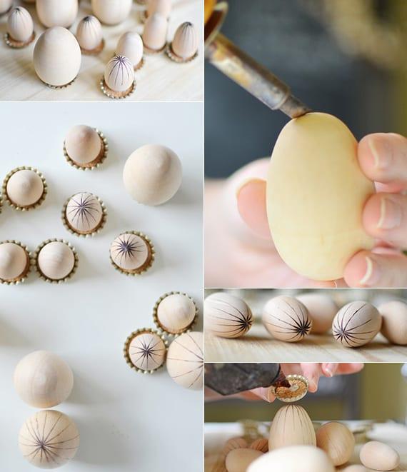 interessante osterdeko basteln mit ostereiern aus holz und flaschendeckeln