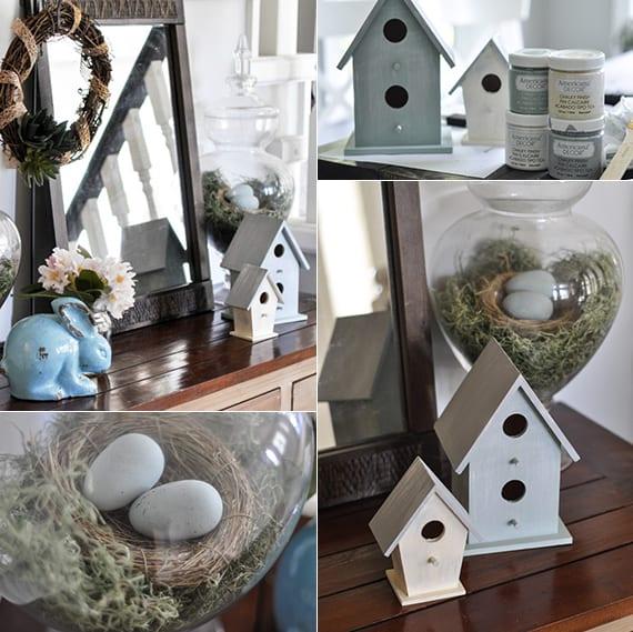 kreative osterdekoration mit osterhasen und vogelhäusern als idee zum osterdeko basteln