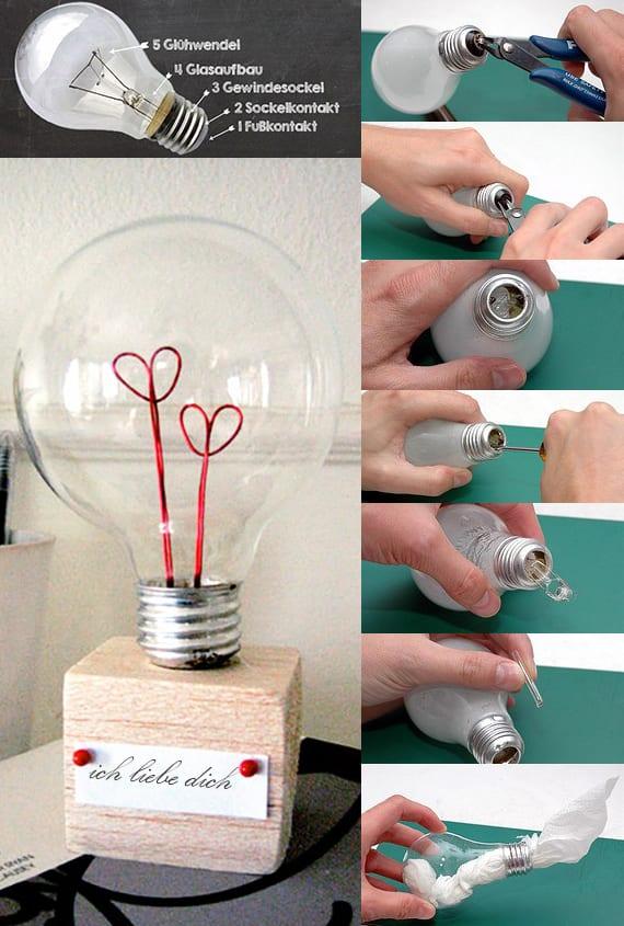 coole bastelidee mit Glühbirne für Liebesgeschenk zum valentinstag_kleine Geschenke selber basteln