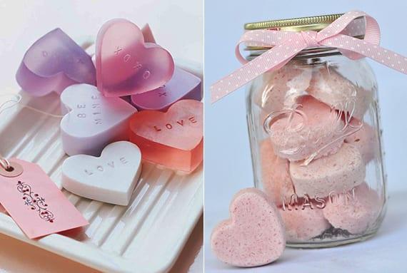 Valentinstag ideen für selbstgemachte valentinstag geschenke_DIY Valentinsseife und Valentinsbadebomeben
