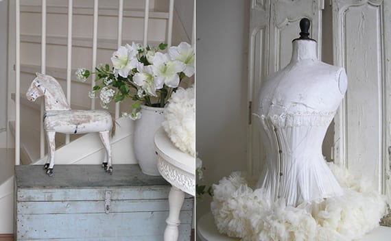 tolle deko ideen für vintage Interieur in weiß