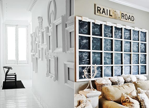 DIY Wanddeko mit weißen Vintage Bilderrahmen oder mit DIY Memo-Board