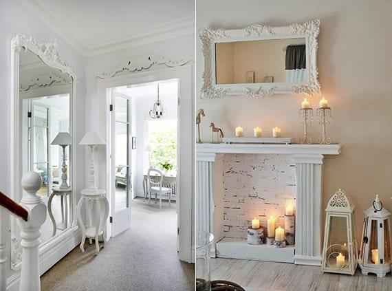 deko ideen mit weißen spiegeln im Vintage stil als moderne Wandgestaltung_kreative Einrichtungsideen und Gestaltung im Flur mit beistelltisch rund und Tischlampe weiß_coole wohnzimmer Vintage Deko mit kerzen und klassischen Kaminelementen