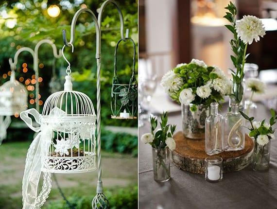 dekoideen für Vintage Hochzeit in weiß und rustikale tischdekoration mit weißen blumen in glasvasen