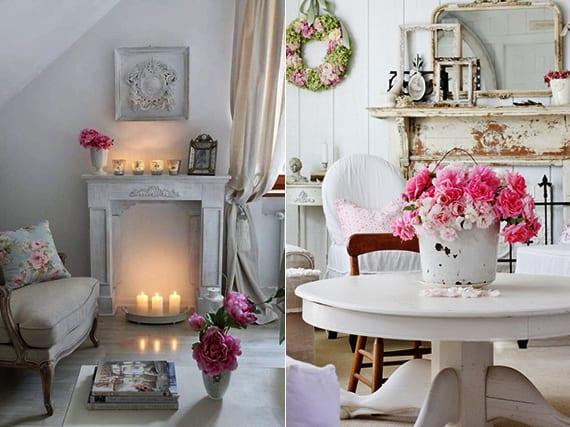 wohnzimmer rustikal in weiß_dekoideen mit blumen frühling für raumgestaltung im vintage style