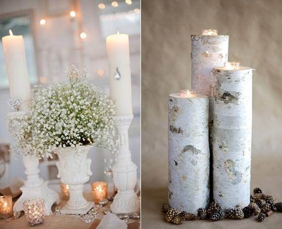 dekoideen im vintage style mit weißen kerzenhaltern und diy kerzenhalter aus birke