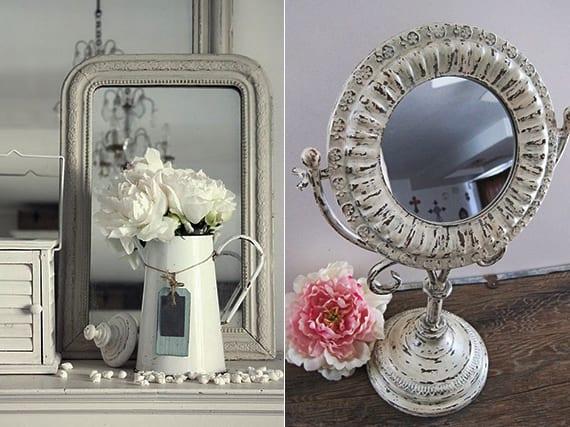vintage-deko-ideen-in-weiß-mit-Spiegel-in-Metallrahmen