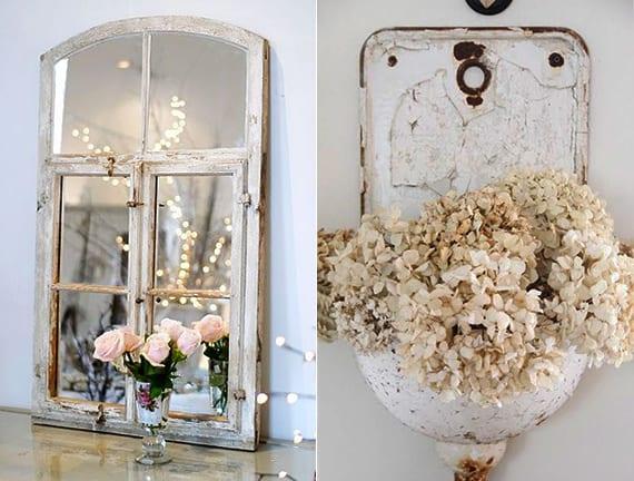 DIY Vintage spiegel aus holzfenster und coole DIY Wanddeko im Vintage style