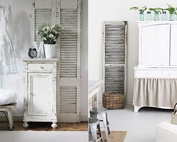 vintage mäbel weiß und alte fensterläden als coole deko ideen für Raumgestaltung im vintage style