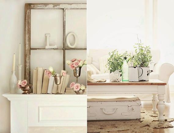 kreative deko ideen im vintage style mit alten holzfensterflügeln und vintage Metallbechern