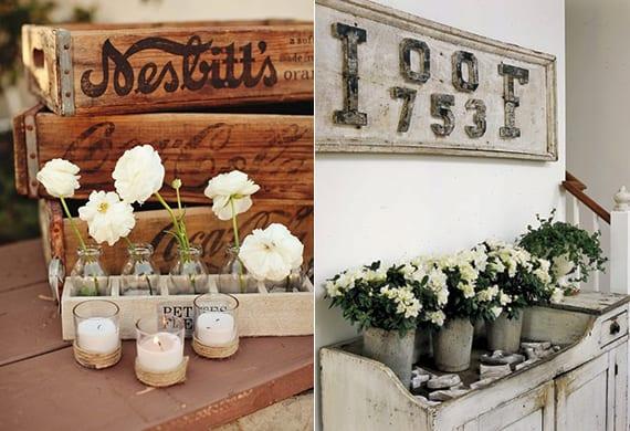 deko ideen in weiß mit frischen frühlingsblumen und weiß gestrichenen holzmöbeln