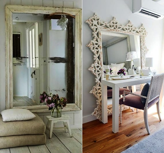 interessante Dekoideen im vintage style mit übergroßen Wandspiegeln mit weißen Spiegelrahmen aus Holz