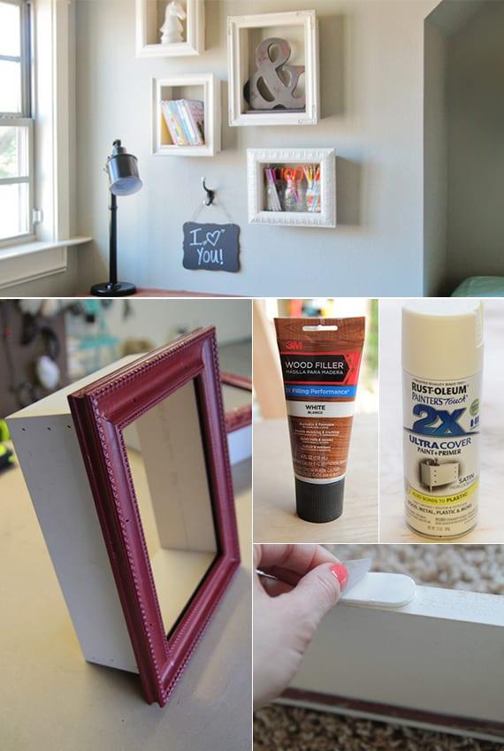 Wandregalen selber bauen mit bilder rahmen_coole und einfache bastelideen für Wandgestaltung im Kinderzimmer