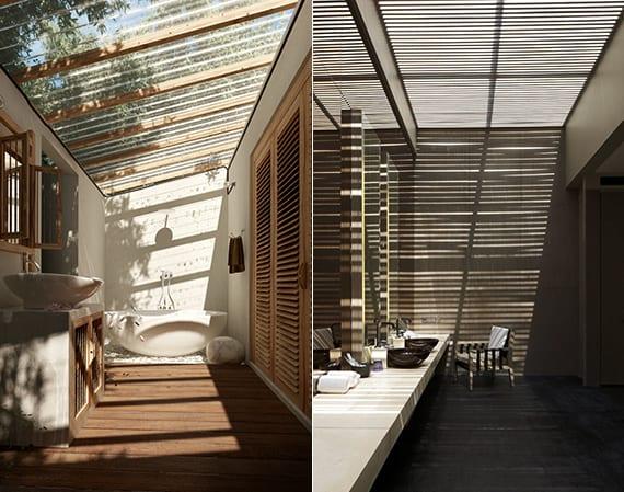 moderne badezimmer mit dachfenster und holzfußboden
