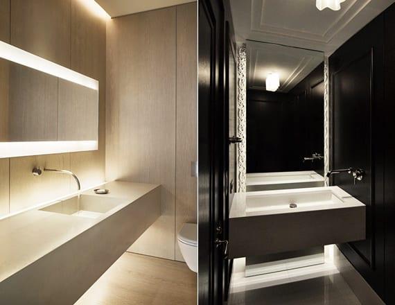 moderne badezimmer mit holzwandverkleidung und wandhängewaschtischen_kleines bad ideen mit schwarzen wänden und weiße decke und boden
