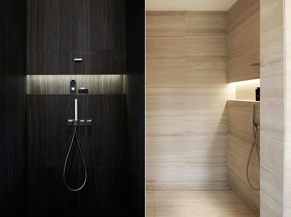 moderne dusche mit eingebaite aufstellfläche und indirekter beleuchtung als moderne badezimmer inspiration