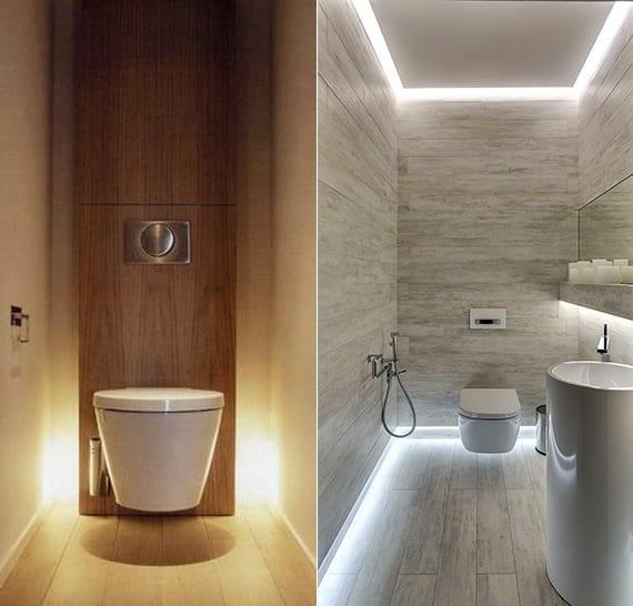 kleines bad ideen für moderne badgestaltung mit indirekter beleuchtung
