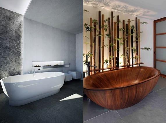 modernes bad gestalten mit freistehender badewanne _kreative wandgestaltung bad durch indirekter beleuchtung und bambusstäben für asiatischen look