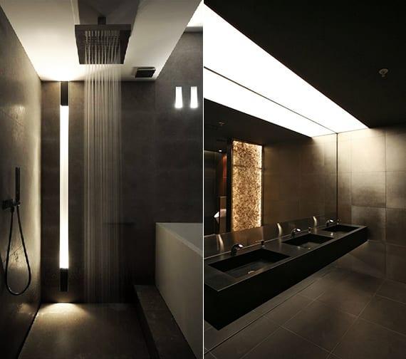 moderne dusche mit einbauwandleuchte und indirekter beleuchtung über wandhängewaschtisch als coole badideen für moderne badgestaltung mit licht