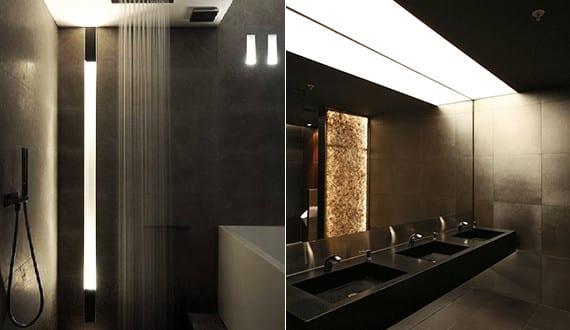 Bad modern gestalten mit licht moderne einabauleuchte und for Badezimmer modern gestalten
