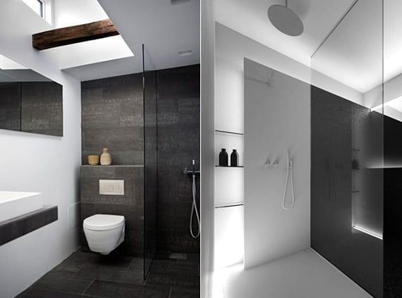 coole bäder ideen für moderne badgestaltung kleiner badezimmer in schwarzweiß mit indirekter beleuchtung oder mit tageslicht