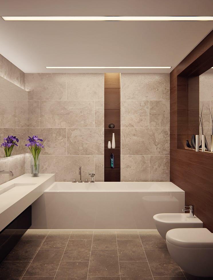 kleines bad modern gestalten mit badfliesen und holz_gegenseitig positionierte spiegel für oprische raumgroße als lösung für kleine bäder