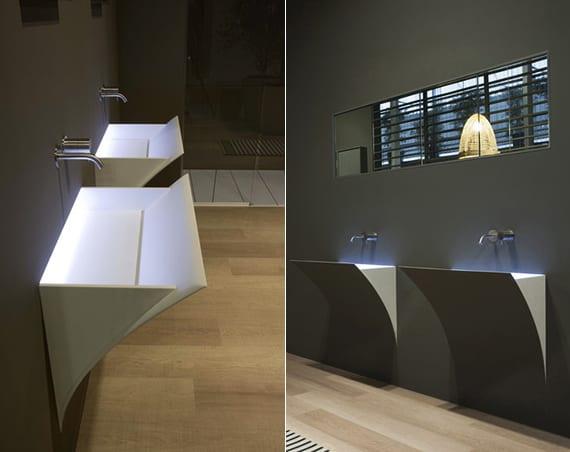 moderne badgestaltung mit wandhänge-waschbecken mit integrierter beleuchtung