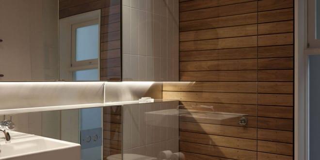 bad modern gestalten mit spiegelwand und indirekt beleuchtete wandnische entlang der wand hinter. Black Bedroom Furniture Sets. Home Design Ideas