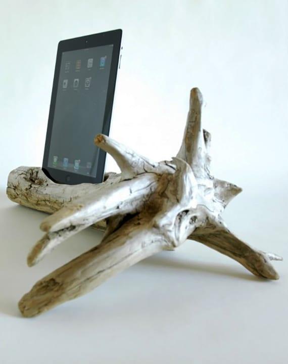 kreative bastelideen für diy tablet dock und coole DIY Deko Ideen mit treibholz