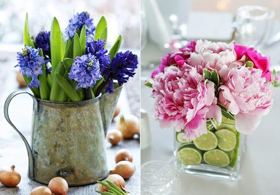coole tischdeko frühling mit Hyazinthen und vase dekorieren mit Limetten und pfingstrosen
