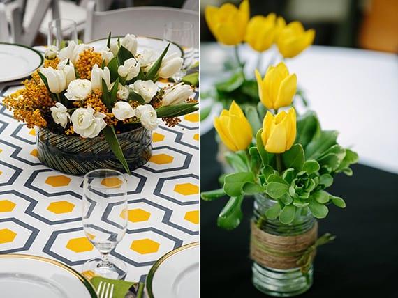 raffinierte tischdeko und blumendeko hochzeit mit gelben tulpen und Sukkulente oder mit weißen tulpen und gelben blumen