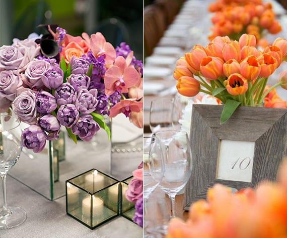 tulpen in lila und orange als raffinierte blumendeko hochzeit_tischdeko ideen mit lilafarbigen tulpen, rosen und rosafarbiger orchidee