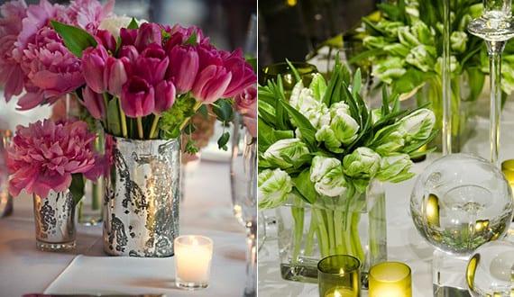 Blumendeko hochzeit mit tulpen als inspiration zum tisch - Hochzeit schlafzimmer dekorieren ...