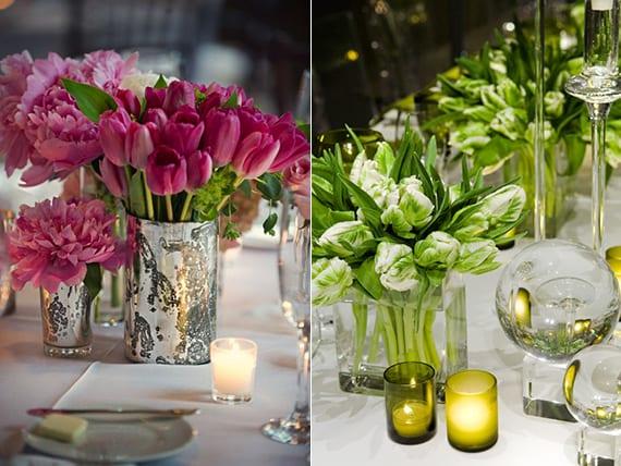 raffinierte tischdeko hochzeit in grün oder rosa farbe mit tulpen und pfingstrose