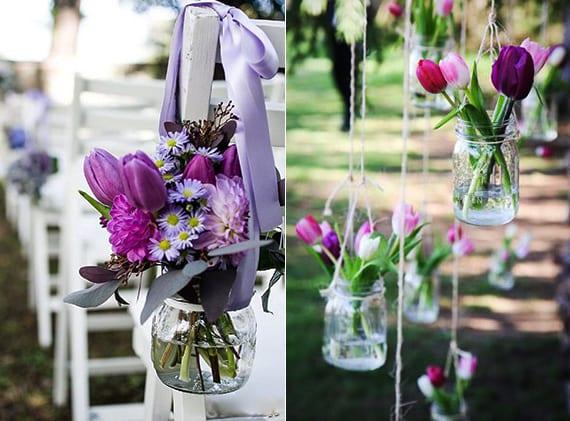 lilafarbige Tulpen als Blumenschmuck für die Altar-Stühle und als Hängeblumendeko zur Hochzeit im Garten